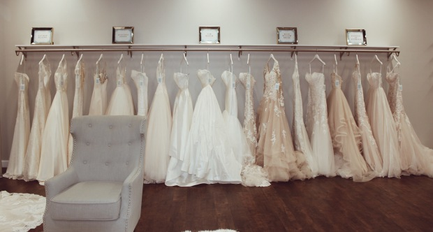 Lauren Elaine Bridal wedding dress and wedding gowns on display at Genevieve's Bridal Couture Salon in Chicago