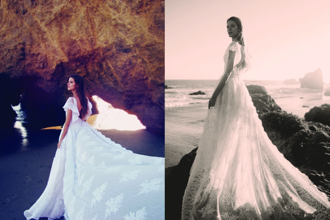 Ethereal and bohemian wedding dresses and bridal gowns for destination and beach weddings by Lauren Elaine Bridal.