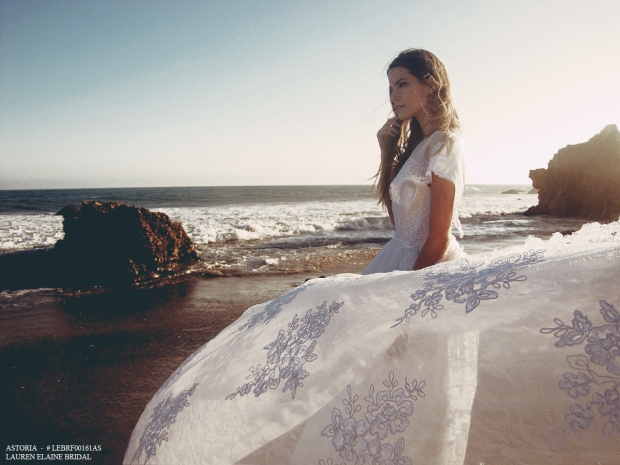Wedding dresses and bridal gowns by Lauren Elaine with detachable trains.