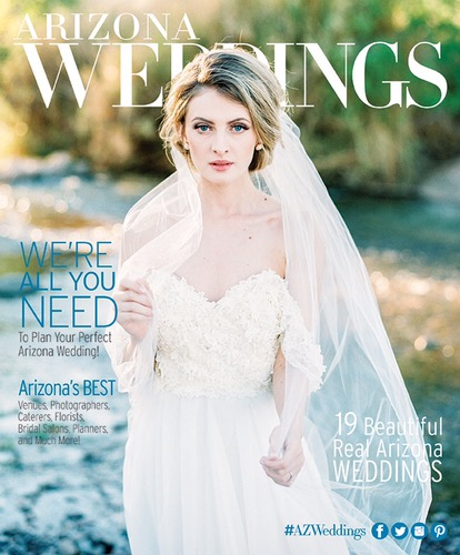 """Camellia"" wedding gown by Lauren Elaine Bridal on the cover of Arizona Weddings Magazine October November 2016 Issue"