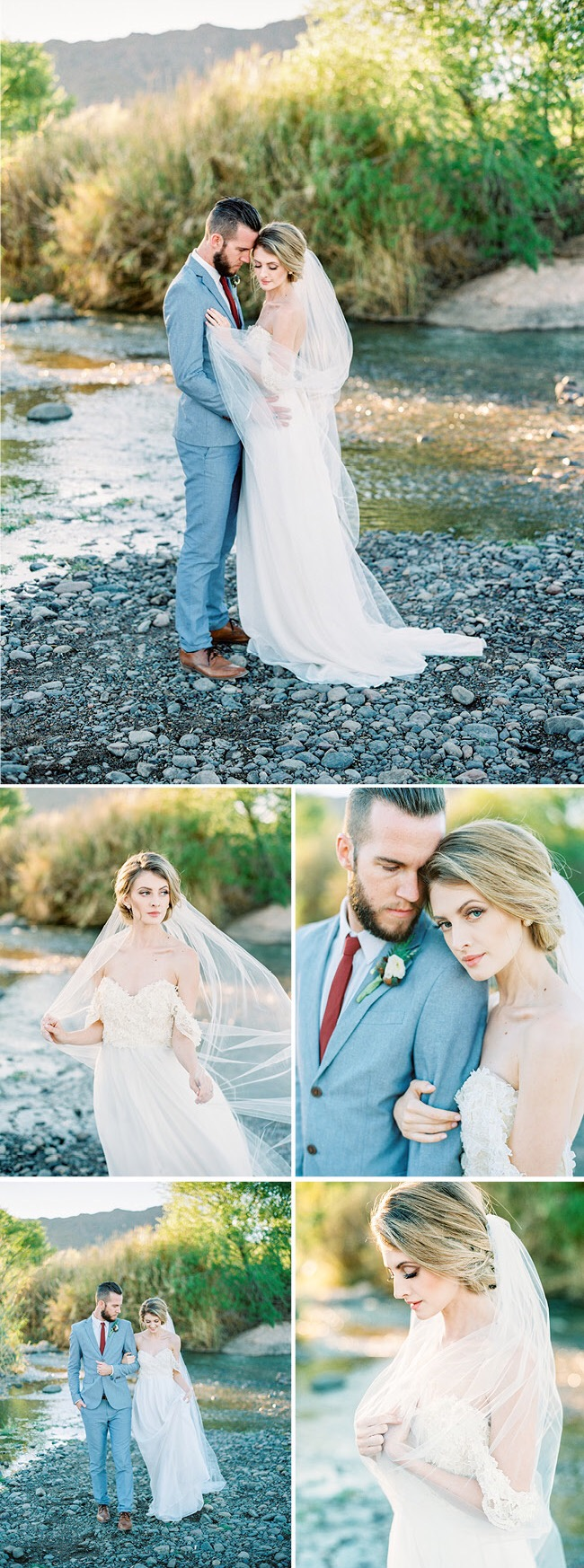 Bohemian wedding gowns by Lauren Elaine Bridal featured in Arizona Weddings Magazine
