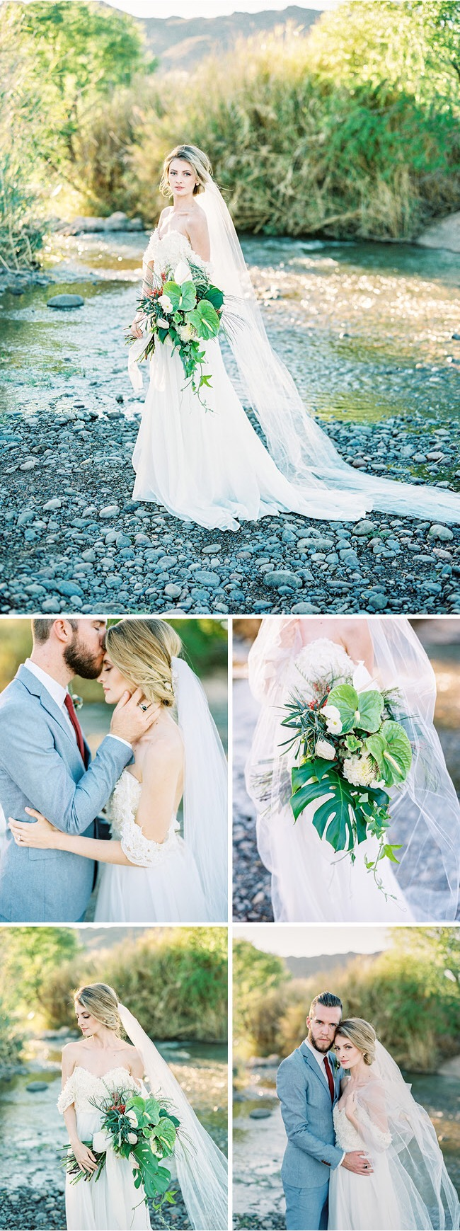 "Bohemian ""Camellia"" wedding gown by Lauren Elaine Bridal in Arizona Weddings Magazine"