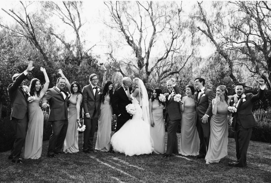 Black and White bridal party portrait by Yair Haim