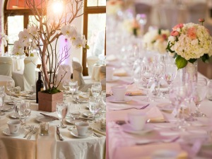 Pink and Ivory wedding decor with crystals