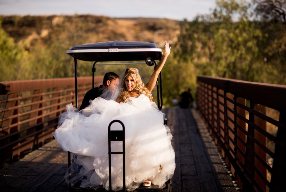 Bride Tal wears Lauren Elaine Bridal for her wedding at Angeles National Golf Club.