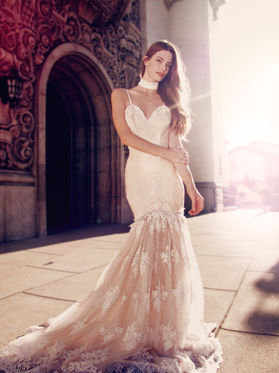 """Vaile"" wedding gown by Lauren Elaine Bridal for Bridal Fashion Week Spring/Summer 2017"