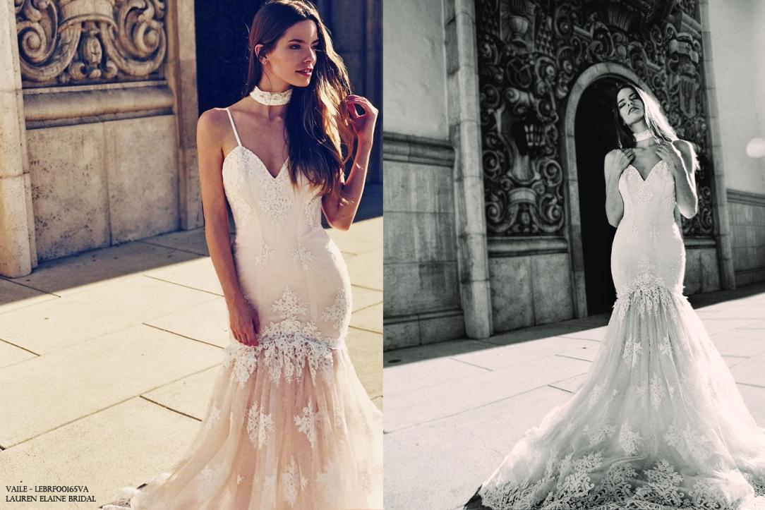 """Bohemian """"Vaile"""" mermaid wedding gown by Lauren Elaine Bridal"""