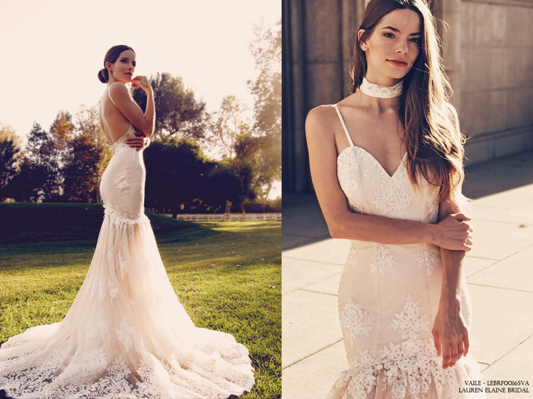 """""""Vaile"""" by Lauren Elaine mermaid/trumpet wedding gown in blush and ivory"""