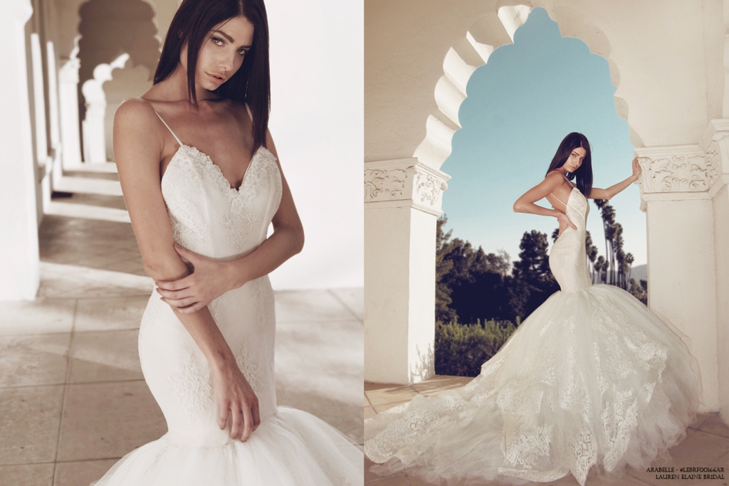 Best mermaid beach wedding gowns and destination dresses by Lauren Elaine Bridal