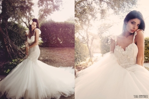 Ethereal, bohemian wedding gowns and bridal dresses with tulle and lace