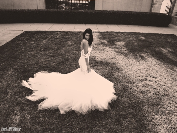 dramatic aerial photo of a lace mermaid wedding dress on grass lawn