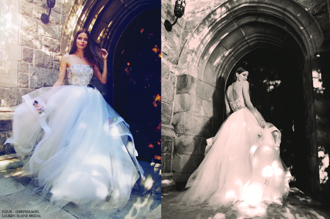 """Twirl-worthy """"Fleur"""" wedding gown by Lauren Elaine Bridal in pewter mist blue shade with horsehair petals and flowers on skirt."""