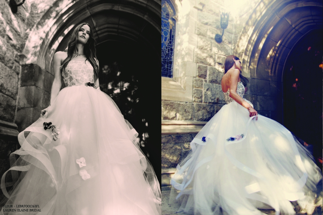 Fairytale blue wedding gown with colored flowers and layered horsehair skirt of tulle.