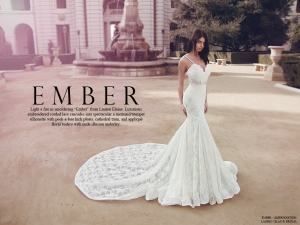 "Lauren Elaine ""Ember"" illusion mermaid wedding gown with cathedral train"