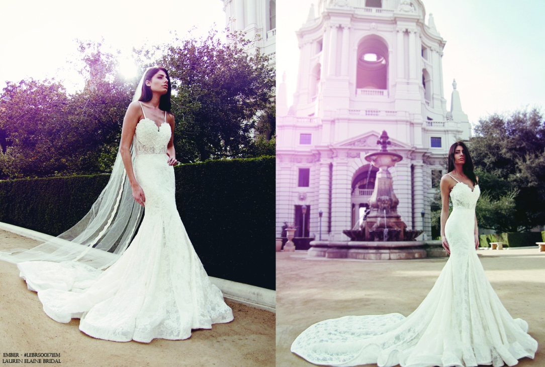 "Lauren Elaine ""Ember"" lace mermaid wedding gown with illusion underlay and peek-a-book kick pleats and cathedral train"