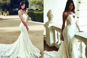 """Sexy Lauren Elaine """"Ember"""" mermaid trumpet wedding gown with open back and cathedral train"""