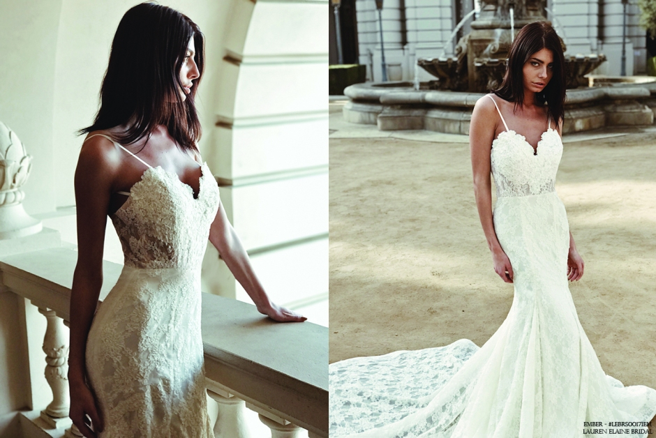 """""""Ember"""" wedding gown by Lauren Elaine Bridal with sweetheart illusion appliqué bodice and cathedral train with kick pleats."""