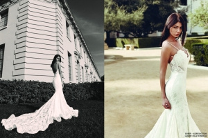 Dramatic backless mermaid wedding gowns by Lauren Elaine Bridal
