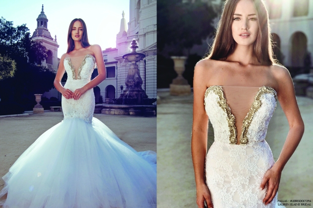 crystal bling mermaid wedding dress deep v lace applique