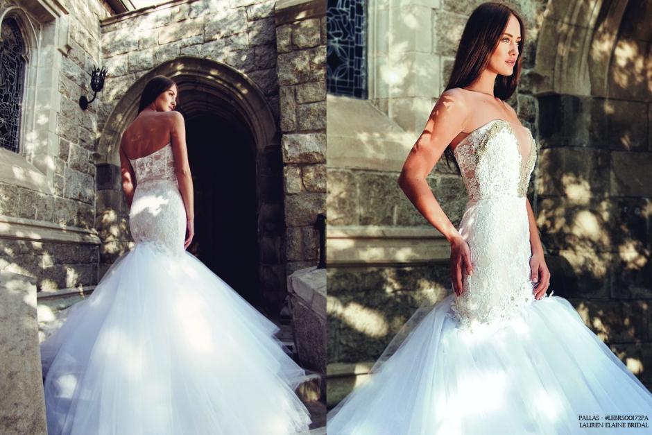 crystal sparkle bling mermaid wedding dress strapless corset see through illusion