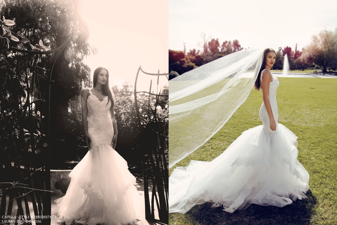 capella by lauren elaine sexy form fit sparkling lace mermaid wedding bridal dress with cathedral train