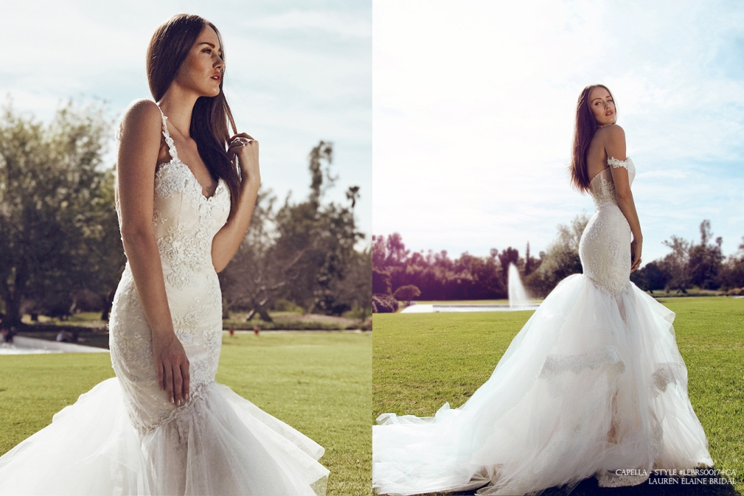 sexy backless mermaid wedding gown bridal dress with off-the-shoulder sweetheart bodice and beaded sequin lace pearls capella by lauren elaine