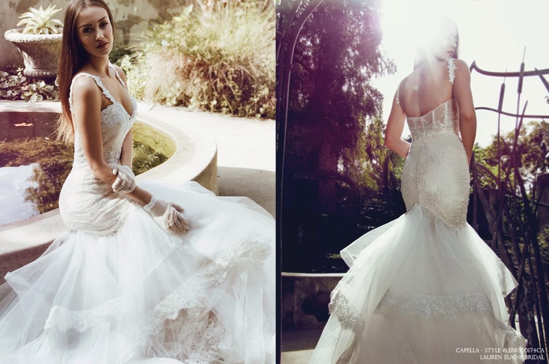 vintage bohemian inspired sexy feminine mermaid wedding gown bridal dress capella by lauren elaine los angeles