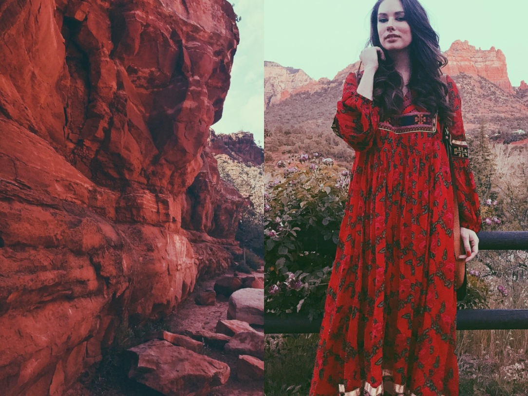 Designer Lauren Elaine in Free People Bold Blooms maxi dress against the red rock cliffs of Sedona, Arizona