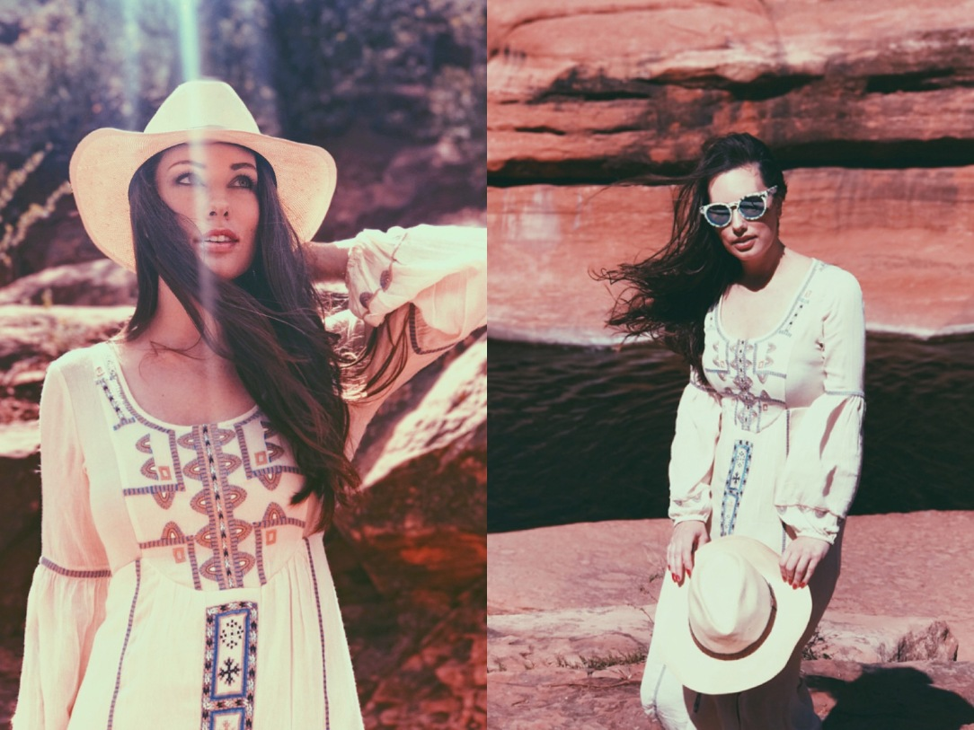 Designer Lauren Elaine explores Slide Rock State Park in Sedona, Arizona wearing bohemian Free People Desert Wind's maxi dress with navajo print.