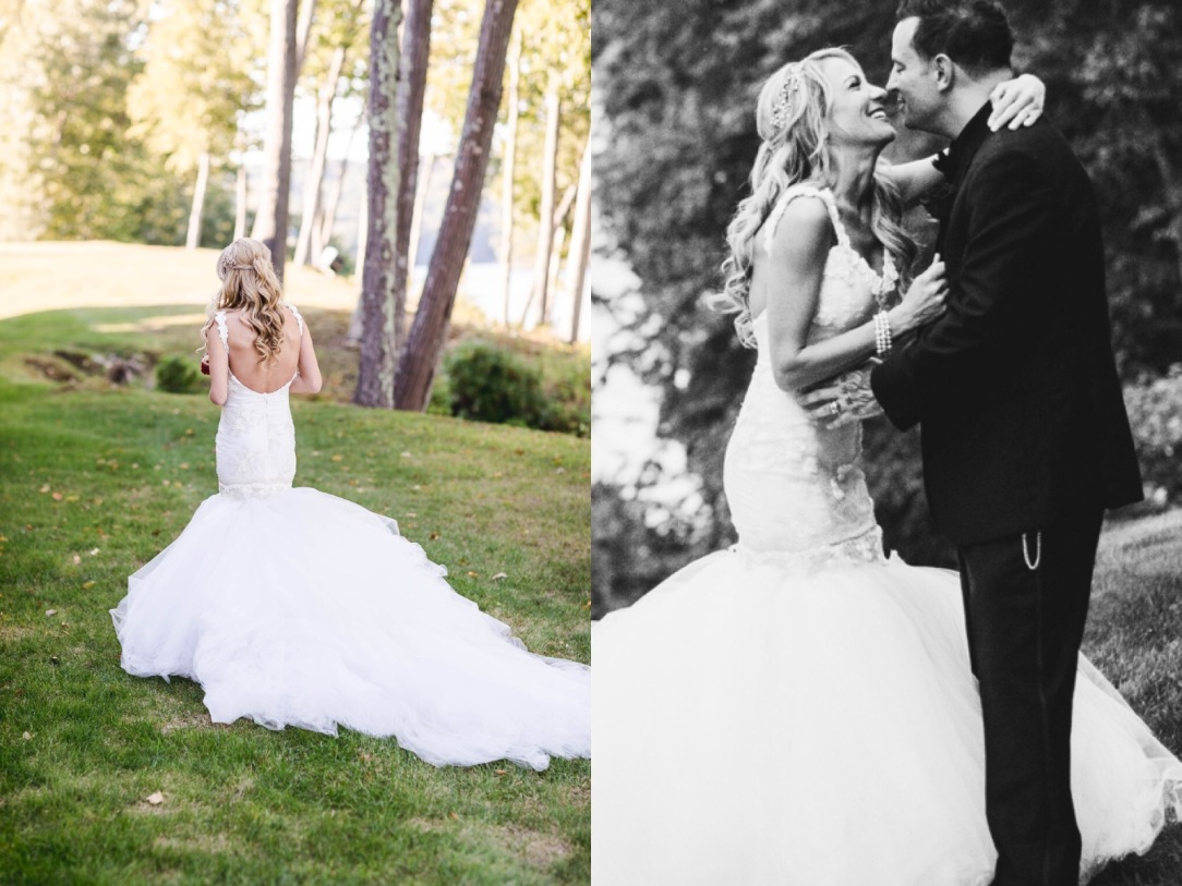Bride jenny in lauren elaine wisteria mermaid wedding dress with cathedral detachable tulle train and veil
