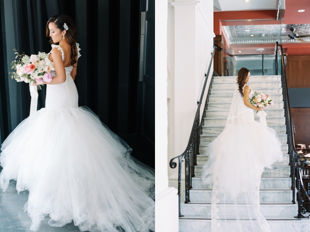 lauren elaine oriana gown on bride mary with detachable cathedral train
