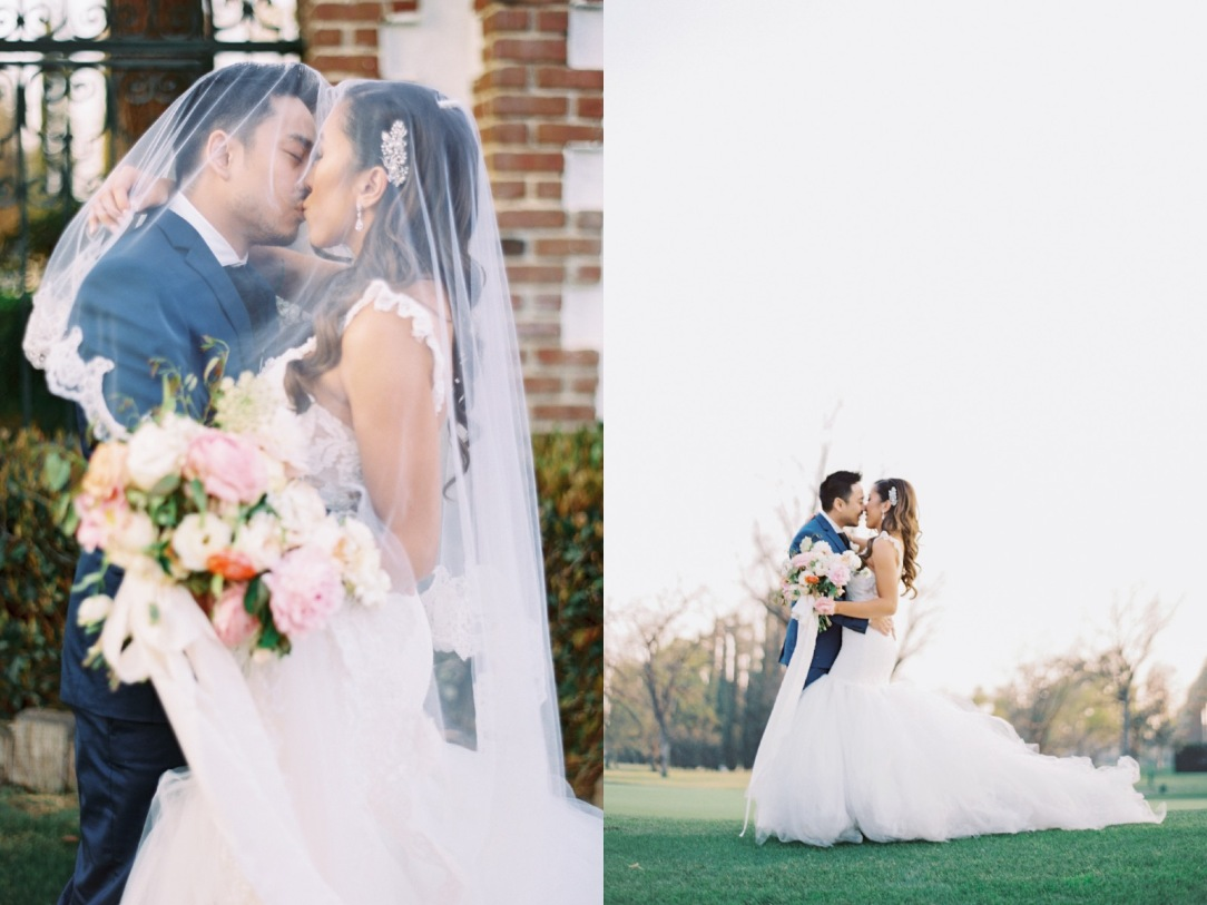 Mary and Sernan embrace at their Bakersfield Country Club wedding