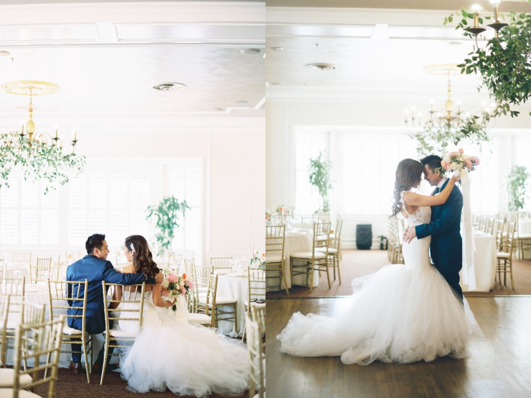 Bride Mary slow dances in her custom Lauren Elaine bridal Oriana wedding dress in Bakersfield, California