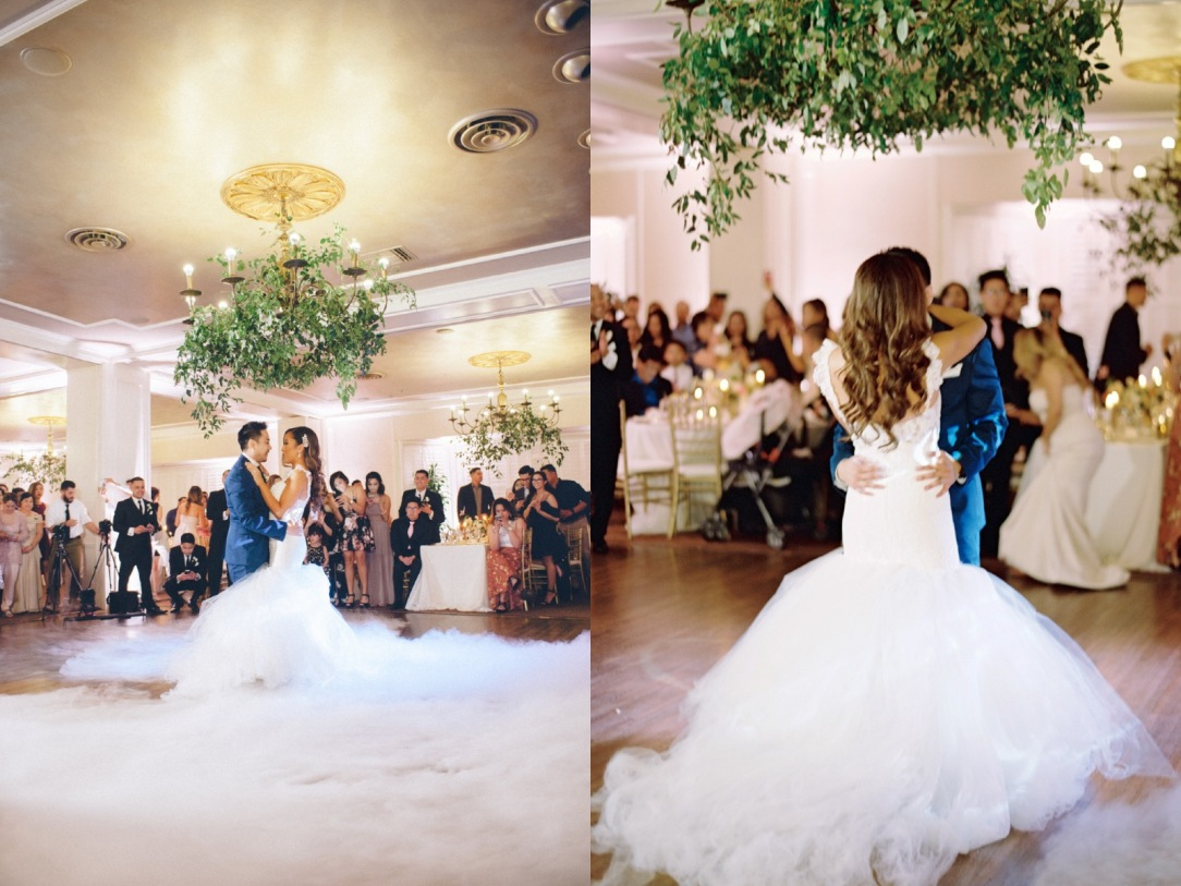Bride Mary dances in her Lauren Elaine Oriana gown with cathedral train