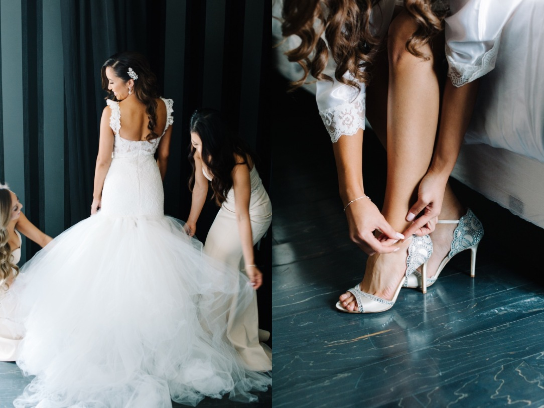 Bride Mary gets ready with her bridal party for her Bakersfield, California wedding