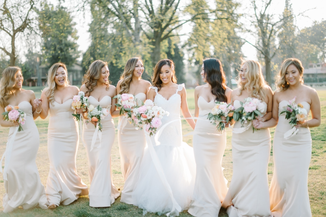 Bride Mary and her bridal party in california wearing her Oriana Gown