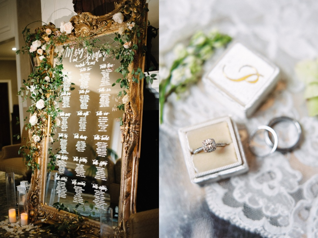 wedding details with gold and crystal accents