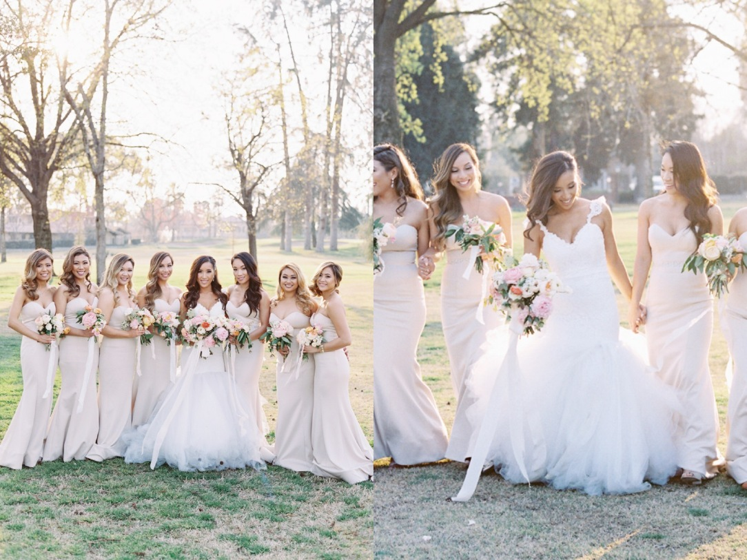 Bride Mary and her bridesmaids in pastel blush gowns and tulle cathedral train