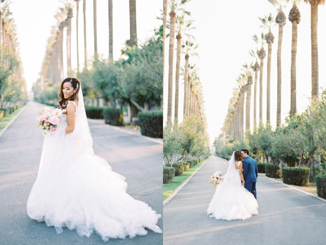 Bride Mary wears her custom Lauren Elaine Oriana gown with detachable train and cathedral veil