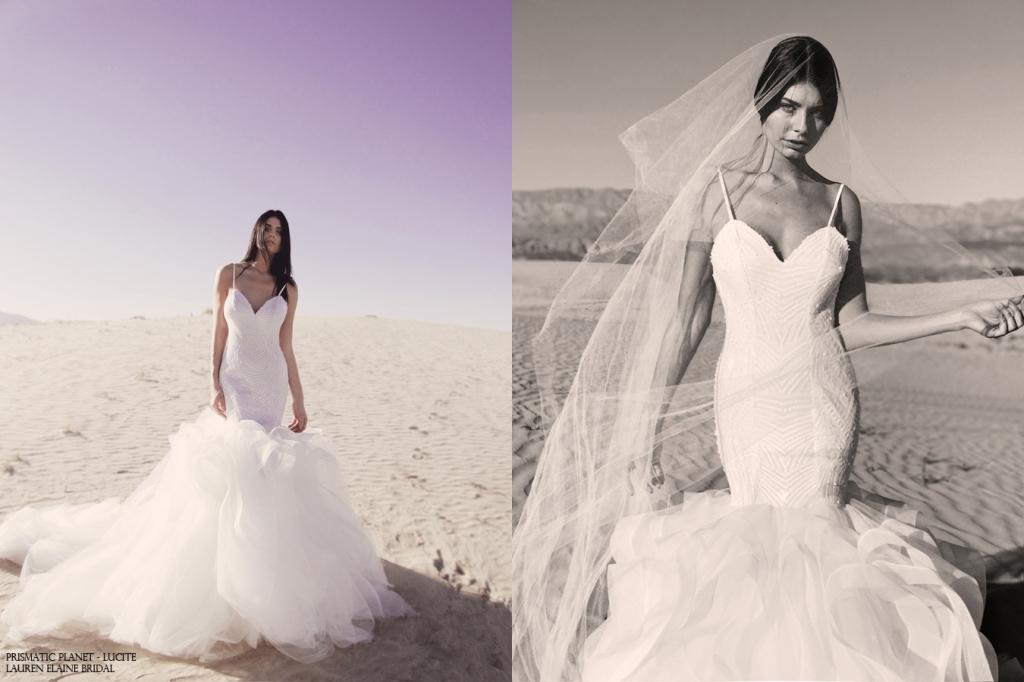 Lucite horsehair tulle backless mermaid wedding dress by lauren elaine bridal los angeles