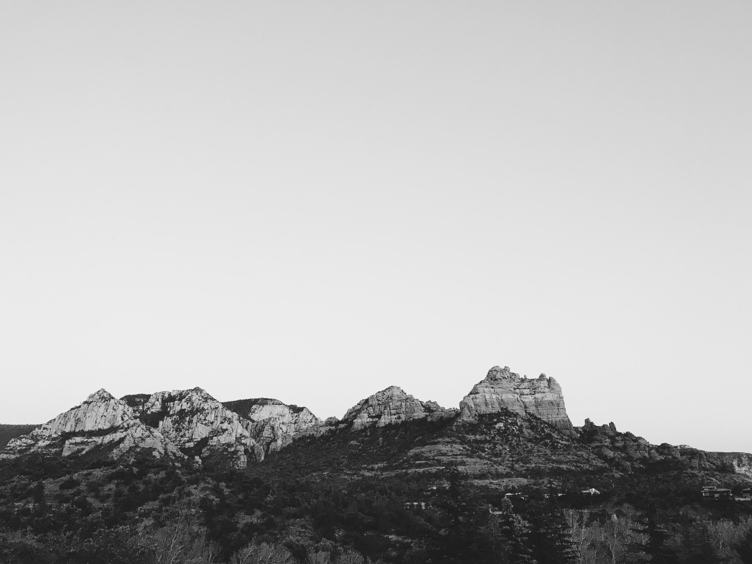 Black and White sunset of red rocks in Sedona, Arizona