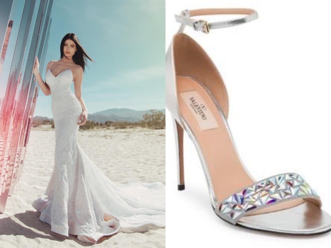 8fa5c46bffa1 Valentino iridescent wedding stilettos paired with sequin mermaid trumpet  Prism gown by Lauren Elaine Bridal
