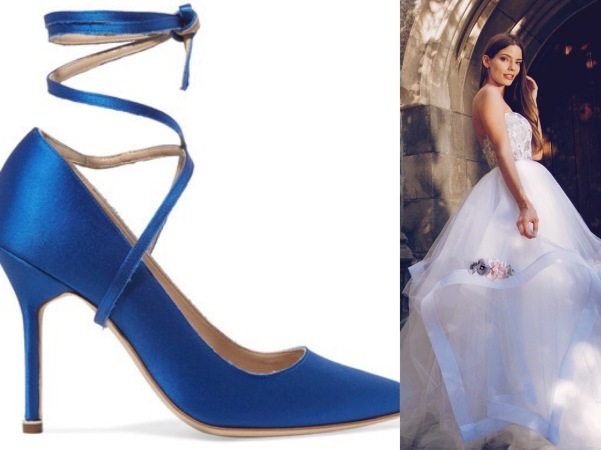 Best blue satin wedding shoes by Vetements paired with tulle and floral ball gown by Lauren Elaine Bridal