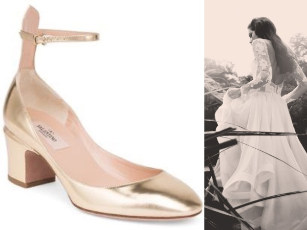 Classic Valentino wedding shoes in gold paired with Lauren Elaine Elise chiffon ball gown wedding dress