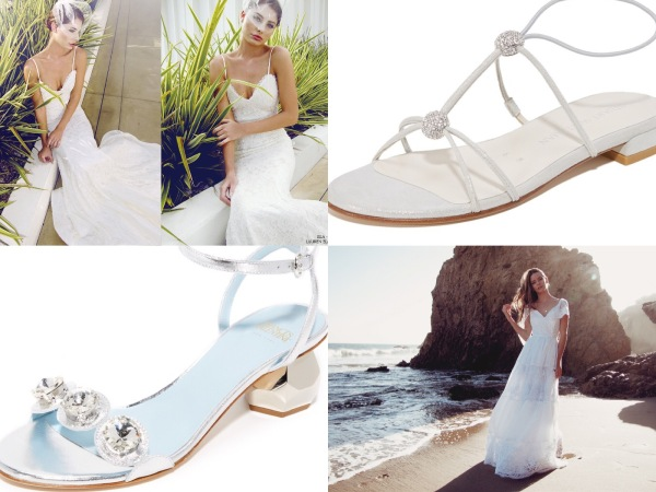 Best flat wedding shoes and sandals by Stuart Weitzman and Frances Valentine paired with destination wedding gowns by Lauren Elaine