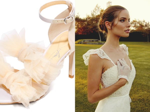 Vintage inspired tulle bow ankle strap wedding shoes by Isa Tapia paired with Lauren Elaine Gardenia gown
