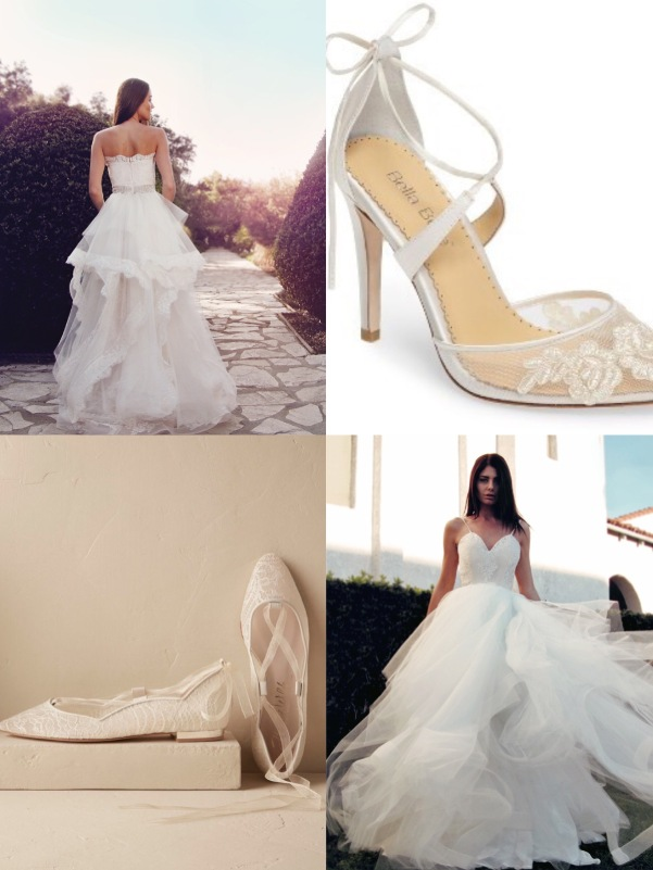 "Best ballerina inspired wedding shoes by BHLDN and Bella Belle for dancing in the Lauren Elaine ""Giselle and ""Halcyon"" gowns"