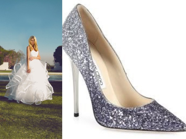 "Glitter sparkle Jimmy Choo wedding pumps with Lauren Elaine ""Lotus"" tulle and horsehair ball gown wedding dress"