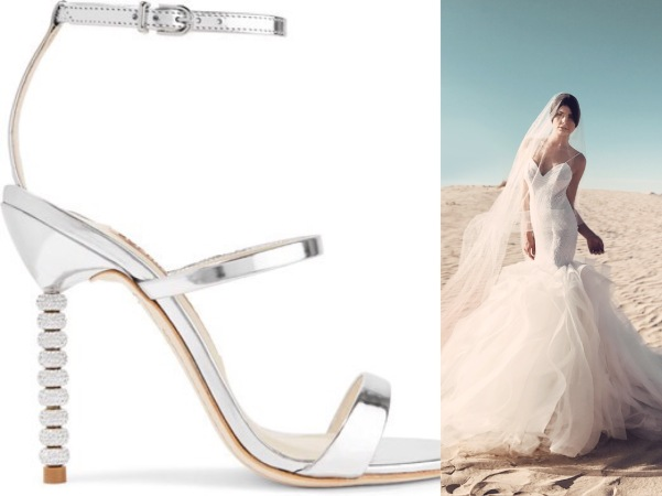 Modern metallic silver Sophia Webster heels paired with tulle and sequin Lauren Elaine Lucite mermaid wedding dress