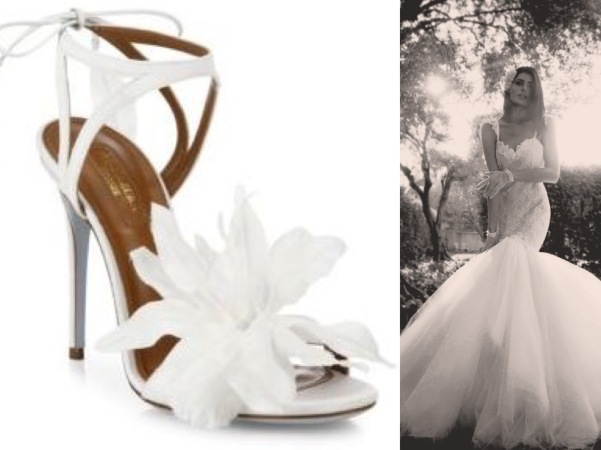 Floral bow wedding shoes by Aquazzura styled with romantic backless mermaid wedding gown by Lauren Elaine Bridal